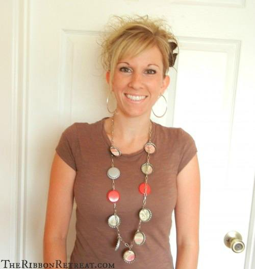 Bottle Cap Necklace - {The Ribbon Retreat Blog}