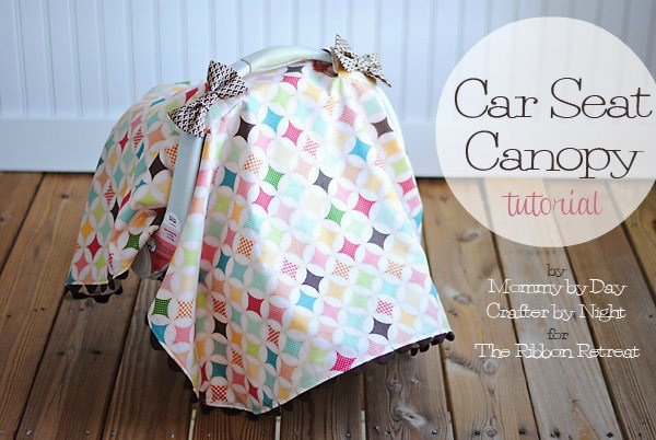 Learn how to make the cutest car seat canopy with Ric Rac and bows!