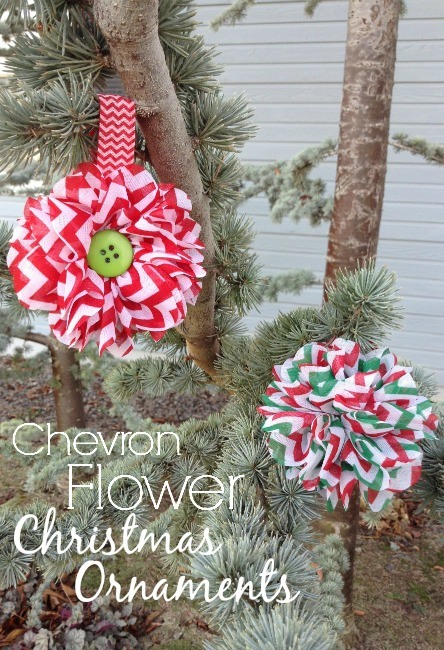 Chevron Flower Christmas Ornaments - The Ribbon Retreat Blog