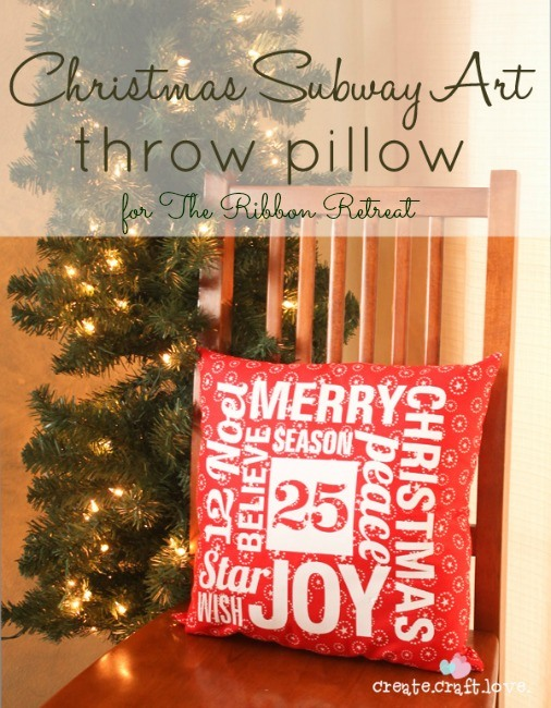 Christmas Subway Art Throw Pillow - The Ribbon Retreat Blog