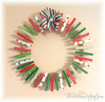 Clothespin Wreath for Christmas Cards - {The Ribbon Retreat Blog}