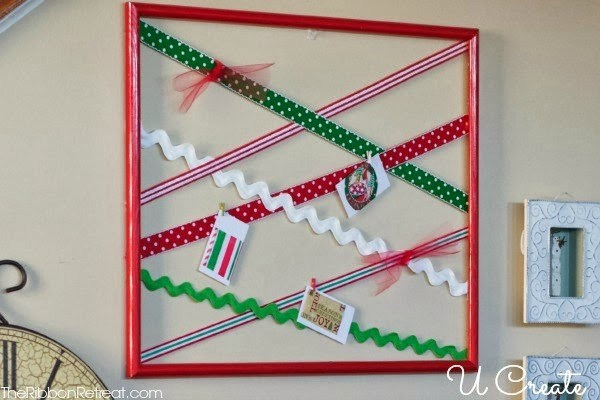 DIY Ribbon Christmas Card Display Frame - The Ribbon Retreat Blog