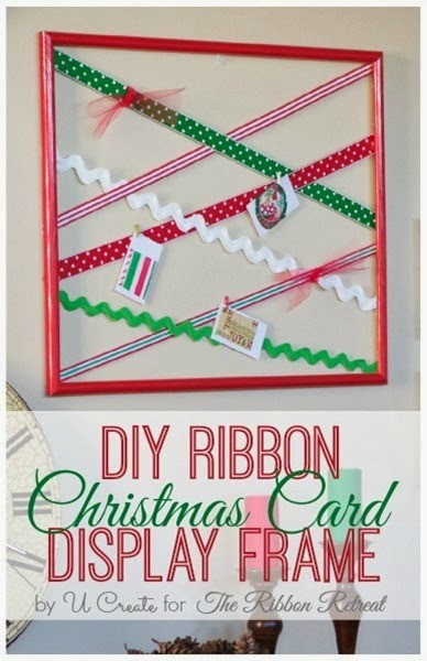 Diy Ribbon Christmas Card Display Frame The Ribbon