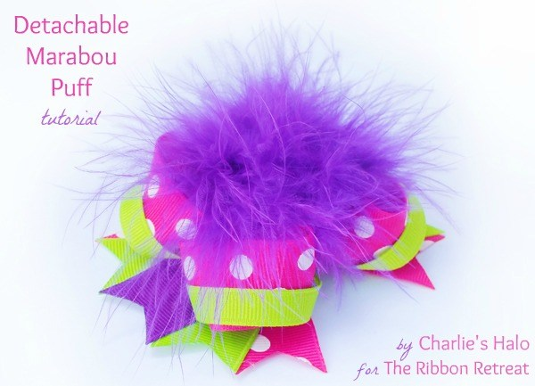 Learn how to make a detachable marabou puff hair bow, two bows in one!