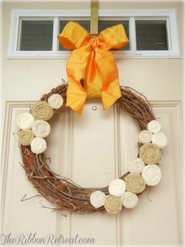 Fall Rosette Wreath - {The Ribbon Retreat Blog}
