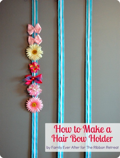 Using two ribbons, you can make an adorable hair bow holder with so many uses!