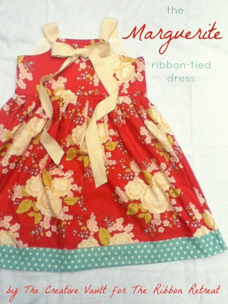 This dress is unique and beautiful! Use button holes and loop ribbon through and tie in a bow. Adorable!