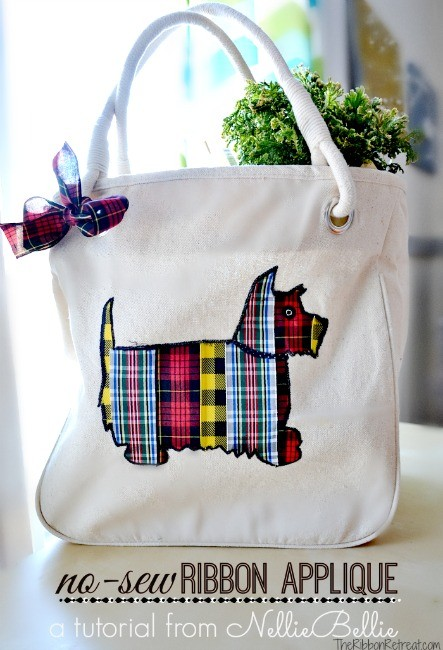 No Sew Ribbon Applique Tote Bag - The Ribbon Retreat Blog