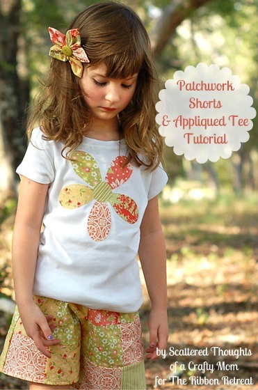 Create an adorable patchwork shorts and matching appliqued tee using this fun tutorial.