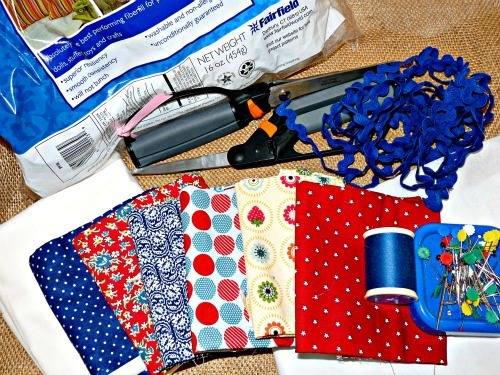 Supplies for the patriotic bunting pillow.