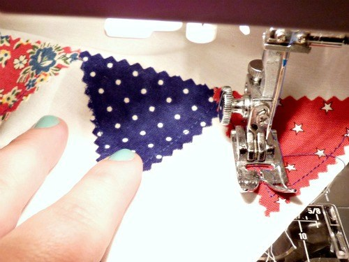 Sew triangles down.