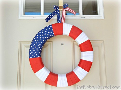 Ribbon Flag Wreath - {The Ribbon Retreat Blog}