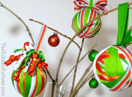 Ribbon Wrapped Christmas Ornament - {The Ribbon Retreat Blog}
