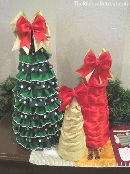 Ruffled ribbon christmas tree the ribbon retreat blog for Using ribbon on christmas tree