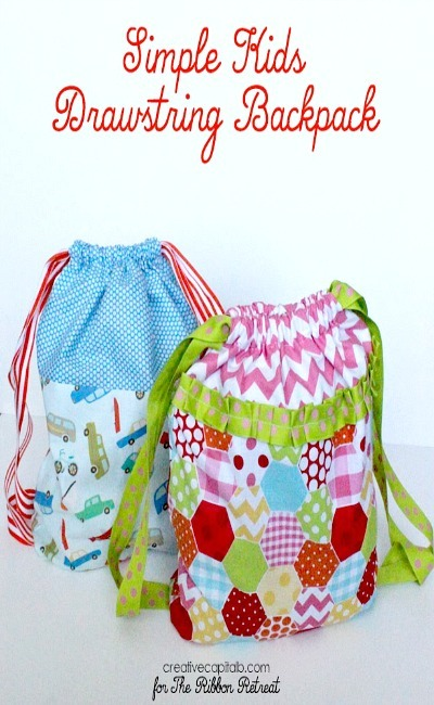 Simple Kids Drawstring Backpack - The Ribbon Retreat Blog