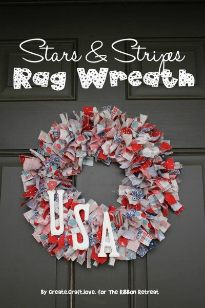 Stars & Stripes Rag Wreath - The Ribbon Retreat Blog