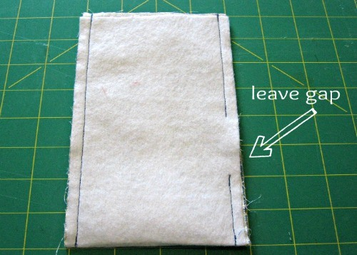 Sew down the sides of the fleece lining, leaving an opening for turning.