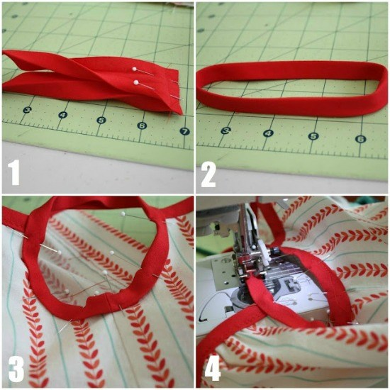 Sewing the bias strap.
