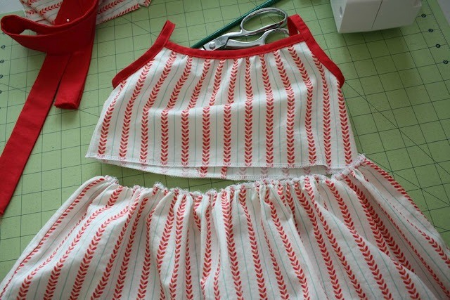 Sew and gather the skirt.