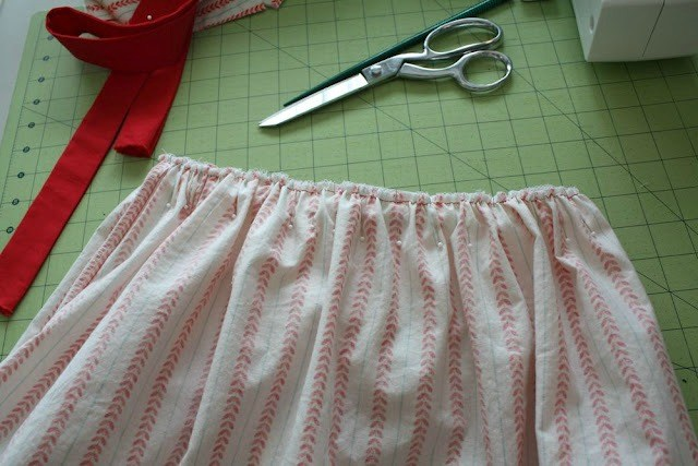 Pin bodice and skirt together and sew.
