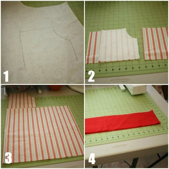 Making a pattern and cutting fabric.