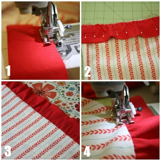 Sew along your gather strip and gather it and attach to the dress.