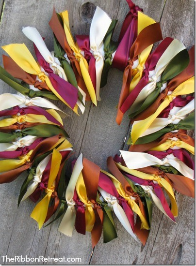 Create your own fun tied ribbon wreath using our tutorial!
