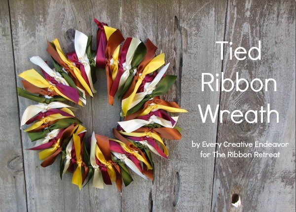 Create a beautiful wreath for your door using beautiful satin ribbon.