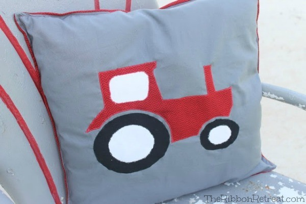 Tractor Applique Pillow - The Ribbon Retreat Blog