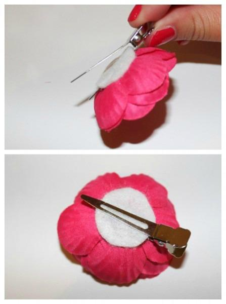 Glue circle onto clip and onto the flower.