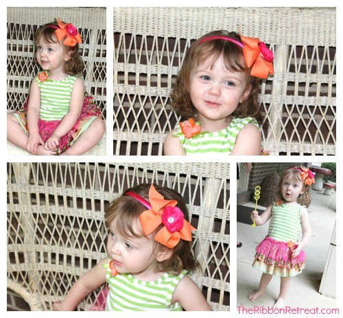 Adorable Twisted Boutique Bow Headband with Removable Flower!