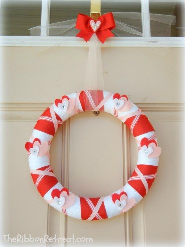 Valentine's Day Wrapped Ribbon Wreath - {The Ribbon Retreat Blog}