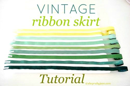 beautiful ribbon skirt using vintage ribbon.
