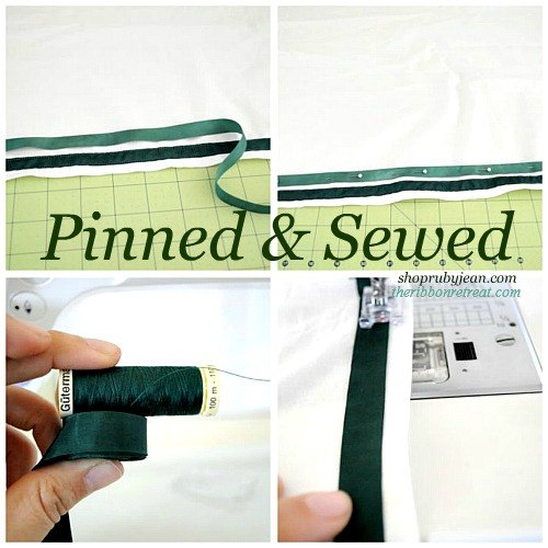 Pin and sew your ribbon onto your skirt.