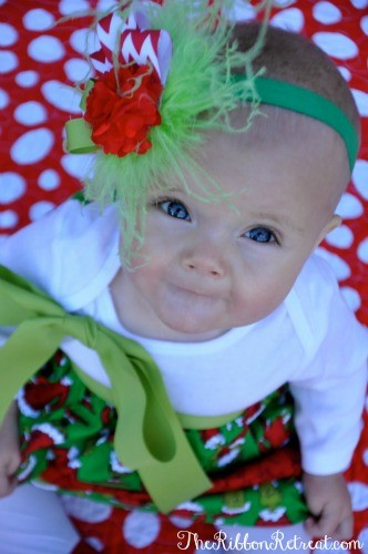 Grinch Ruffle Dress and Feather Headband - Use this fantastic tutorial to create a super cute dress and matching headband for your adorable little one! {The Ribbon Retreat Blog}