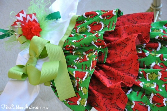 Grinch Ruffle Dress and Feather Headband - Use this fantastic tutorial to create a super cute dress for your adorable little one! {The Ribbon Retreat Blog}