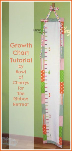 How to make a growth chart from fabric and ribbon