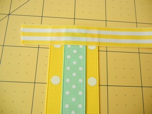 Glue ribbon strips to long ribbon