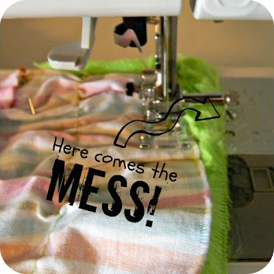 Sew the two fabrics together, it will get messy!