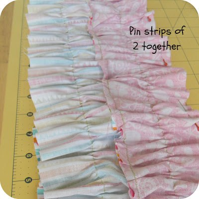 Pin the strips of two together and sew