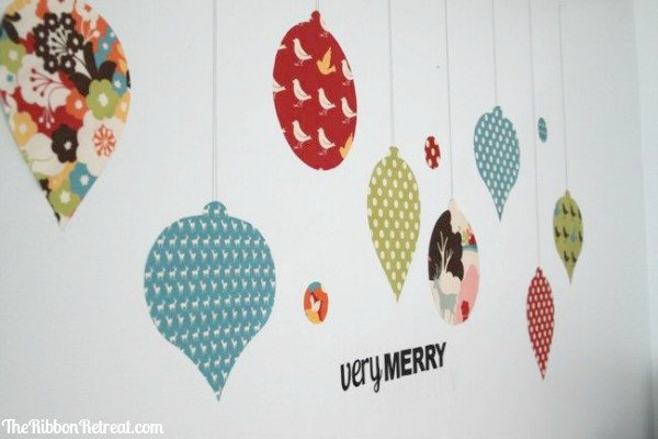 How to Make Fabric Wall Decals - Christmas Ornaments - The Ribbon ...