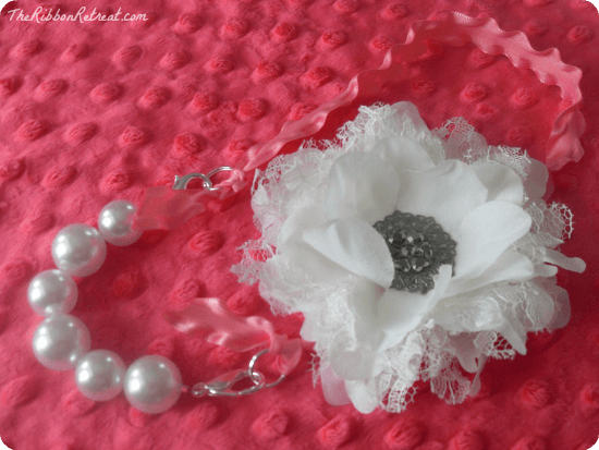 Interchangeable Ribbon and Pearl Necklace - this tutorial is easy and makes great gifts for those who love accessories! {The Ribbon Retreat Blog}