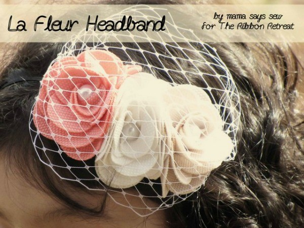 Le Fleur Headband Tutorial: Uses ready-made La Fleur Flowers on a skinny elastic headband. So pretty! {The Ribbon Retreat Blog}