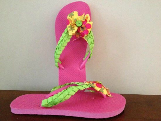 ribbon flip flops bow-licious designs