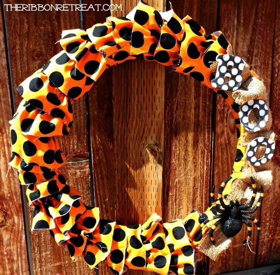 Ruffled Halloween Wreath - Ruffles! Cute for any holiday. {The Ribbon Retreat Blog}