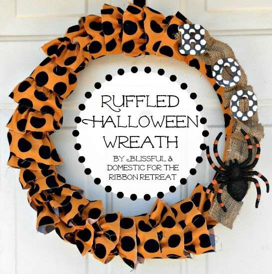 Ruffled Halloween Wreath - Pretty ruffles perfect for any holiday! {The Ribbon Retreat Blog}