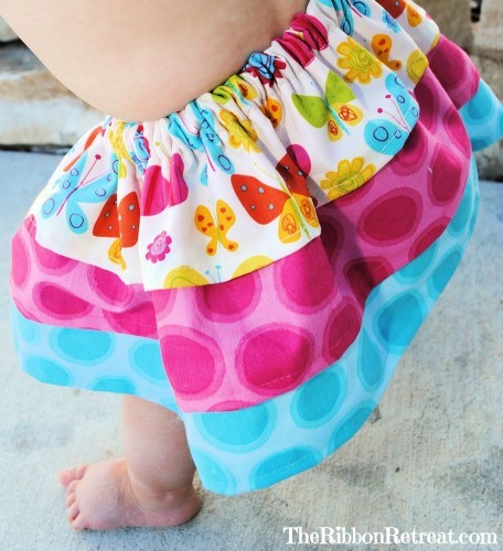 Three Layer Ruffled Baby Skirt - So easy and perfect for beginners! {The Ribbon Retreat Blog}