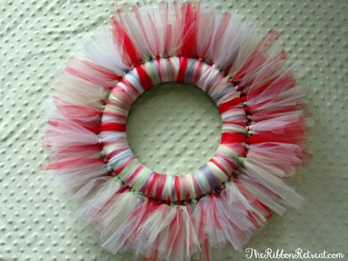 Tulle Christmas Wreath - Use this tutorial and tulle to create a fun wreath for any holiday. {The Ribbon Retreat Blog}