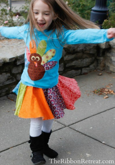 Turkey Applique Shirt and Skirt Tutorial - Super cute just in time for Thanksgiving! {The Ribbon Retreat Blog}