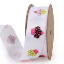 Product Image - 10 Yard Spool!  White or Pink Satin printed Rib...
